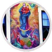 Virgin Mary Mural Round Beach Towel