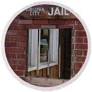 Virginia City Nevada Jail Round Beach Towel
