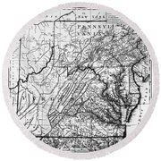 Virginia: Map, C1784 Round Beach Towel