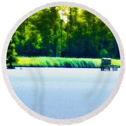 Virginia Tides Round Beach Towel by Bill Cannon