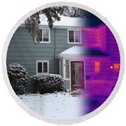 Visible And Infrared Image Of A House Round Beach Towel