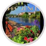 Visit Provence Poster Round Beach Towel