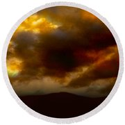 Vivachas Golden Hour Sunset Glowing Clouds  Round Beach Towel