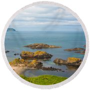 Volcanic Rock Formations In Ballintoy Bay Round Beach Towel