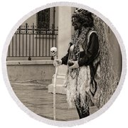 Voodoo Man In Jackson Square New Orleans- Sepia Round Beach Towel