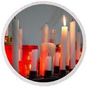 Votive Candles Round Beach Towel by Gaspar Avila