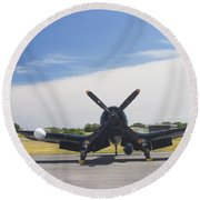 Vought F4u Corsair Fighter Plane On Runway Canvas Photo Poster Print Round Beach Towel