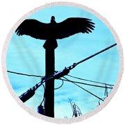 Vulture On Phone Pole Round Beach Towel