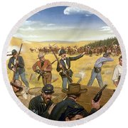 Wagon Box Fight, 1867 Round Beach Towel