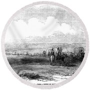 Wagon Train, 1859. For Licensing Requests Visit Granger.com Round Beach Towel
