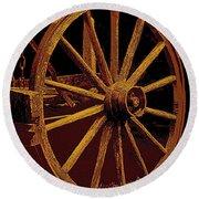 Wagon Wheel In Sepia Round Beach Towel