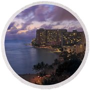 Waikiki At Night Round Beach Towel