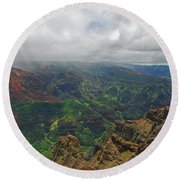 Waimea Canyon Weather Round Beach Towel
