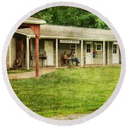 Waiting By The General Store Round Beach Towel by Paul Ward
