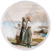 Waiting For The Return Of The Fishing Fleets Round Beach Towel