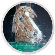 Waiting - Horse Portrait Round Beach Towel