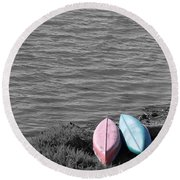 Waiting In Black Round Beach Towel