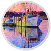 Waiting In The Harbor Round Beach Towel