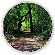 Walk In The Woods Round Beach Towel