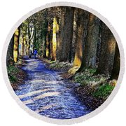 Walk On A Cold Autumn Day Round Beach Towel