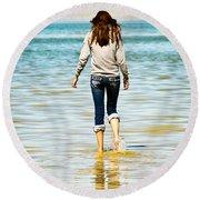 Walking Away 1 Round Beach Towel