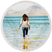 Walking Away 2 Round Beach Towel