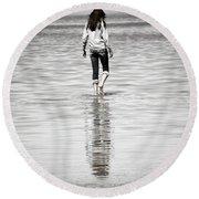 Walking Away 3 Round Beach Towel