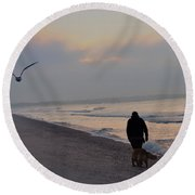 Walking On The Beach - Cape May Round Beach Towel
