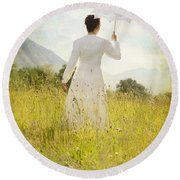 Walking On The Meadow Round Beach Towel