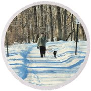 Walking The Dog Round Beach Towel by Paul Ward