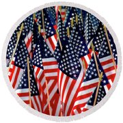 Wall Of Us Flags Round Beach Towel