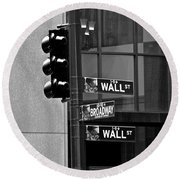 Wall Street And Broadway Round Beach Towel