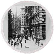 Wall Street Looking Toward Old Trinity Church - New York City - C 1910 Round Beach Towel