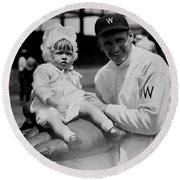 Walter Johnson Holding A Baby - C 1924 Round Beach Towel