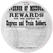 Wanted Poster, 1881 Round Beach Towel