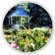 War Memorial Rose Garden 1  Round Beach Towel