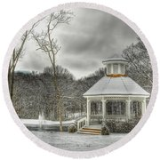 Warm Gazebo On A Cold Day Round Beach Towel