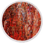 Warm Meets Cool - Abstract Art Round Beach Towel