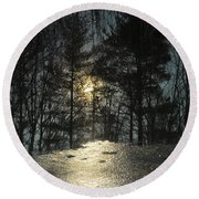 Warmth Above Icy Reflections Round Beach Towel