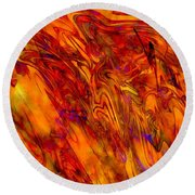 Warmth And Charm - Abstract Art Round Beach Towel