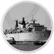 Warship Hms Bulwark Round Beach Towel by Jasna Buncic