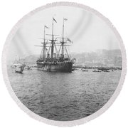 Warship Kaiser On Which Kaiser Wilhelm II Of Germany Came To Istanbul Round Beach Towel