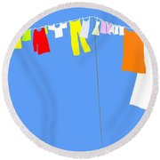 Washing Line Simplified Edition Round Beach Towel