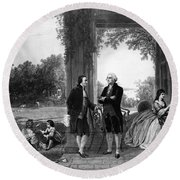 Washington And Lafayette, Mount Vernon Round Beach Towel