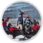 Washington Crossing The Delaware, 1776 Round Beach Towel