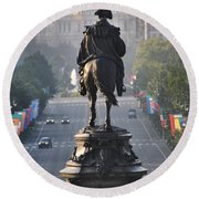 Washington Looking Down The Parkway - Philadelphia Round Beach Towel by Bill Cannon