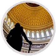 Washington Under Capitol Dome Round Beach Towel