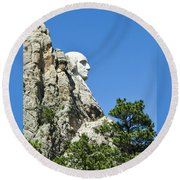 Washinton On Mt Rushmore Round Beach Towel