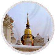 Wat Suan Dok Royal Cemetery  Round Beach Towel