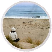 Watching The Ocean Round Beach Towel
